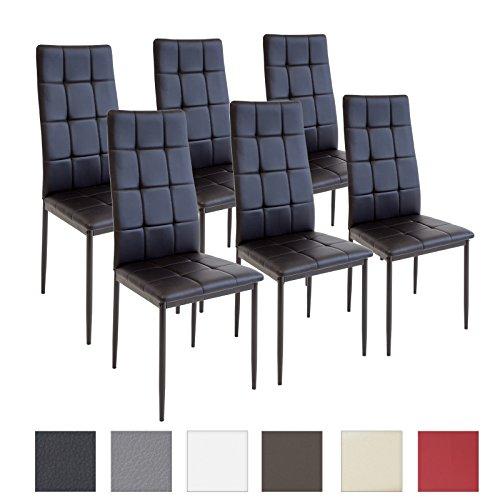 Albatros Silla Rimini, Set de 6 sillas, Negro, certificada por la SGS, Silla de Comedor