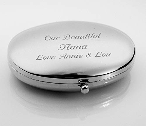 Personalized Silver Oval Compact Mirror Engraved Free