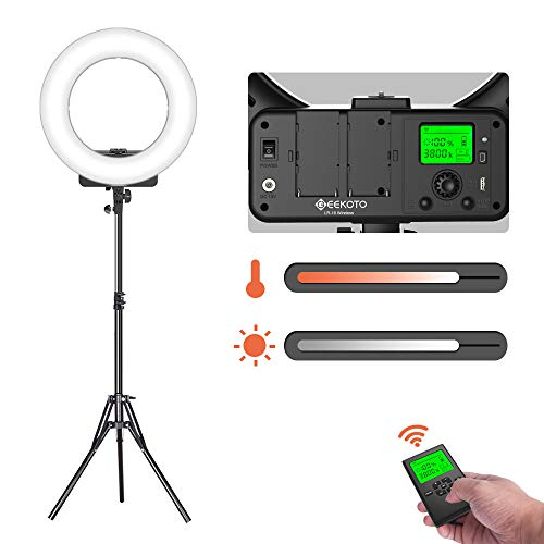 GEEKOTO 18-inch Dimmable 3300-5600K Ring Light with Remote Control and LCD Display for Smartphone & Camera for Live Streaming Makeup Vlogging Selfie