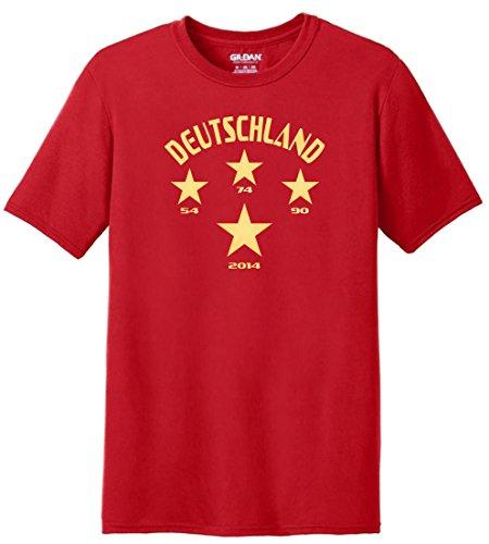 T-Shirt Herren WM Shirt Deutschland Fussball Shirt 4 Sterne 54 74 90 2014 Weltmeister WM 2018, T-Shirt, Grösse XXXXXL, rot