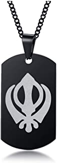 MEALGUET Stainless Steel Sikhism Sikh Khanda Pendant Necklace Sikhs Necklace India Pakistan Malaysia Religious Jewelry for...