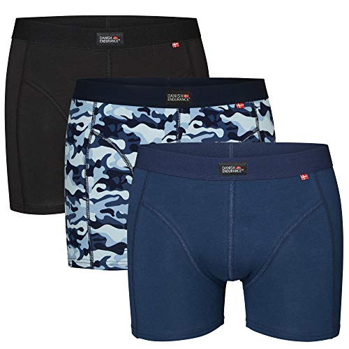 DANISH ENDURANCE Bóxers para Hombre Pack de 3 (Multicolor: Negro, Azul Marino, Azul Camuflaje, Medium)
