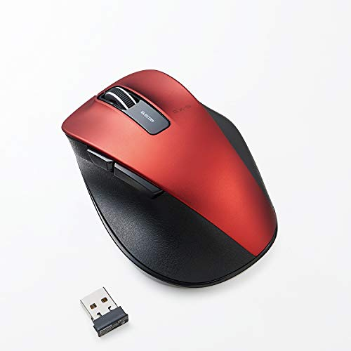 ELECOM Dr.EXG Wireless Mouse 2.4GHz 5 Buttons BlueLED Less Click Noise Mouse/Ergonomic Design/Back Forward Button 2000 DPI Gaming / Medium - RED (M-XGM10DBSRD-US)