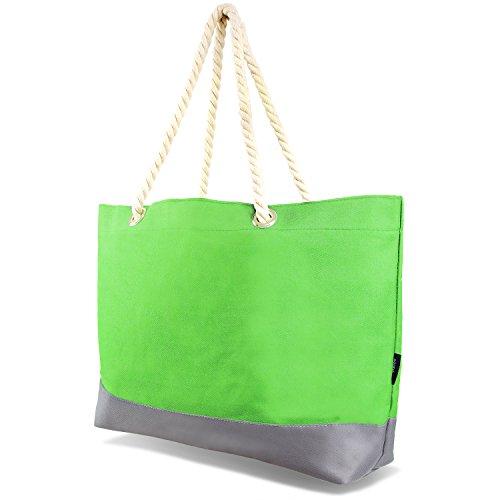 Tarjane Beachbag Grosse Strandtasche Badetasche für Damen Weekend Bag - Hellgrün