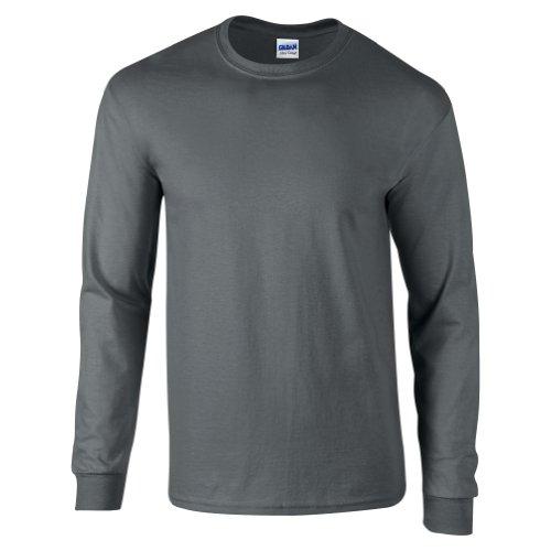 Gildan - Camiseta de manga larga de algodón Gris gris oscuro X-Large