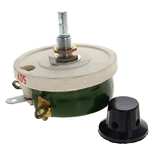 Fielect Wirewound Ceramic Potentiometer Rheostat Variable Resistor with Knob 50W 1Pcs