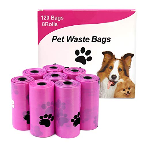 HaoDeng Dog Poop Bags, Extra Thick and Strong Poop Bags for Dogs, Guaranteed Leak-Proof, 15 Doggy Bags Per Roll, 8Rolls, 120 Bags