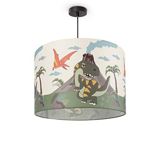 Paco Home Kinderlampe Deckenlampe LED Pendelleuchte Kinderzimmer Lampe Dinosaurier, E27, Lampenschirm:Grün (Ø45.5 cm), Lampentyp:Pendelleuchte Schwarz