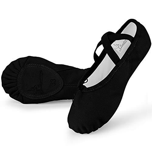 Soudittur Zapatillas Media Punta de Ballet - Calzado de Danza para Niña y Mujer Adultos Negras Suela Partida de Cuero Tallas 39