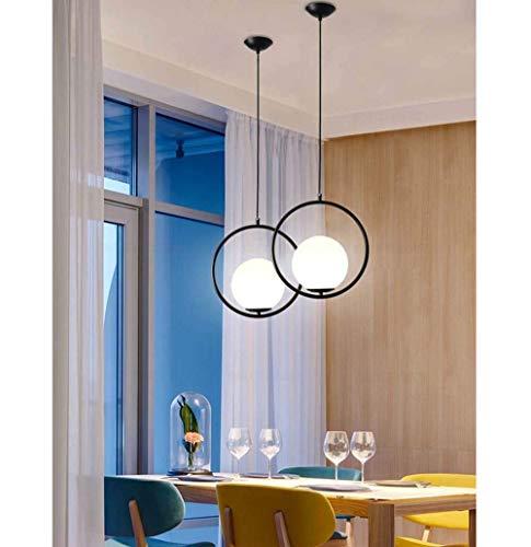 Lievevt Lampadario Moderno Candelabro de Estilo Moderno Plating Restaurante Candelabro Sala de Estar Simple Dormitorio Tienda de Ropa Decoración de Bolas de Vidrio Candelabro Negro