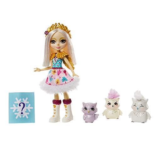 Enchantimals GJX46 - Enchantimals Spielset Familie,Odele Owl Puppe (15,24cm) mit 3 Eulen Tierfreunden und Überraschungstüte