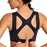 SYROKAN Women's High Impact Seamless Racerback Wirefree Sports Running Bra with Built-in Cups Black 36DD