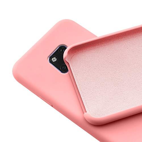N NEWTOP Custodia Cover Compatibile per Huawei Mate 20, Ori Case Guscio TPU Silicone Semi Rigido Colori Microfibra Interna Morbida (Rosa)