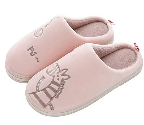 CELANDA Zapatillas de Casa para Mujer Hombre Cálido Zapatos de Estar Otoño Invierno Interior Casa Slippers Suave Algodón Zapatilla, B Rosa,39/40 EU = 40/41 Talla Fabricante