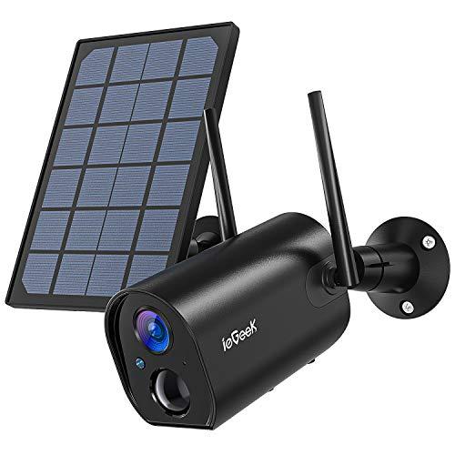 Telecamera Wi-Fi Esterno Batteria 10400mAh Senza Fili con Solare Pannel, ieGeek WiFi Videocamera Sorveglianza, PIR e Rilevamento del Movimento, Visione Notturna 20m, IP65 Impermeabile