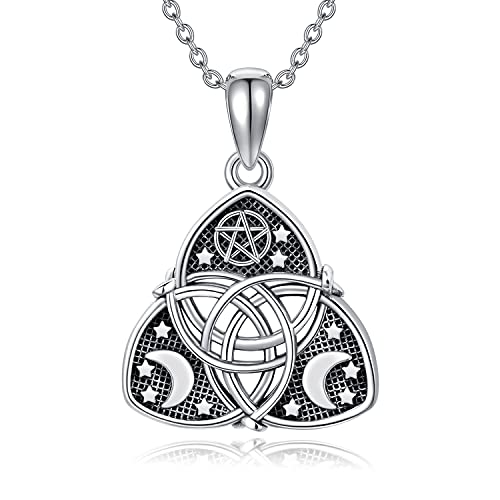 Celtic Necklace for Women Sterling Silver Irish Celtic Knot Trinity Triquetra Pendant Necklace Pagan Wiccan Jewelry Gifts for Women