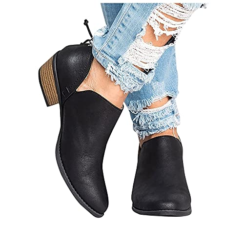 seanxw Platform Boots for Women with Low Heel Round Toe Square Heel Short Boots Slip On Platform Boots Cowboy Ankle Boots Casual Shoes