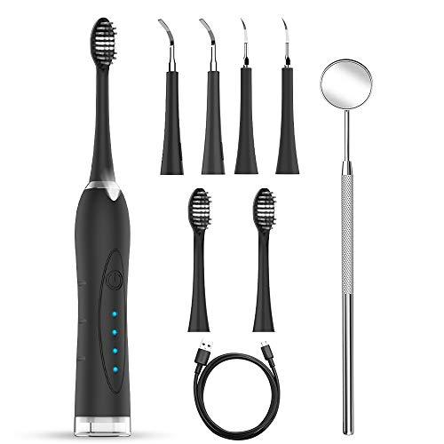 Pulizia Denti Dental Spazzolino Denti kit Pulizia Dentale Sbiancamento Denti Rimuove Macchie di Denti 4 Testine 3 Modalità LED Luce
