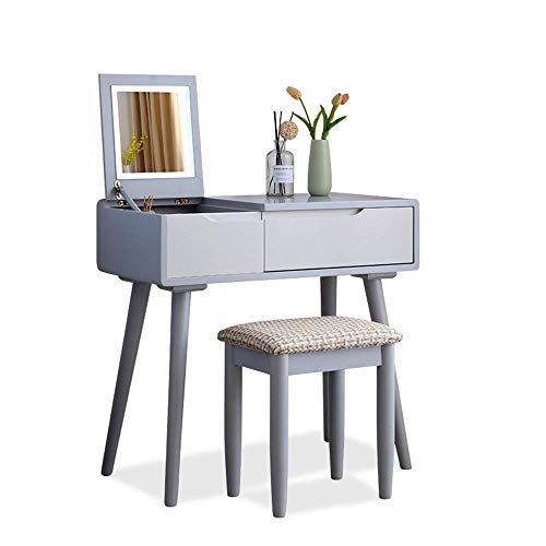 Review Of HIZLJJ Vanity Set with Flip Top Mirror Makeup Dressing Table Writing Desk with 2 Drawers C...