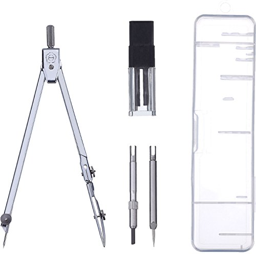 eBoot Stainless Steel Drawing Compass Math Geometry Tools for Circles, Total 5 Pieces (Included Box)