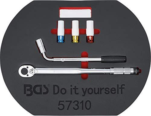 BGS Diy 57310 | Radwechsel-Service-Satz | 5-tlg. | Drehmomentschlüssel | Radmutternschlüssel | Felgen-Schon-Einsätze | Knieschutz-Matte