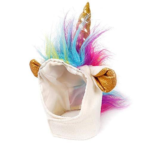 Detazhi Katze Unicorn Hat Einhorn Kostüm für kleine Hundekatze Welpe Roman Lustige Anpassungskörper Cosplay Mähne Hut Kopfbedeckung Für Halloween Festival Geburtstag Thema Party Foto Requisiten