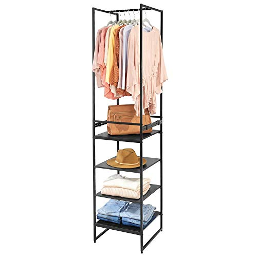 mDesign Modular Closet Organizer System, Storage Unit, Sturdy Steel Frame, 3 Fabric Drawer Bins, 4 Garment Racks, 5 Shelves for Bedroom, Hallway, Entryway, Closet, Textured Print - Charcoal Gray/Black