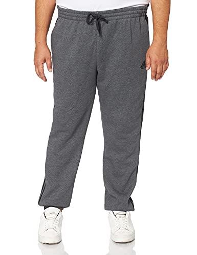 adidas Herren Essentials Tapered Elastic Cuff 3-Streifen Hose, Dark Grey Heather, L