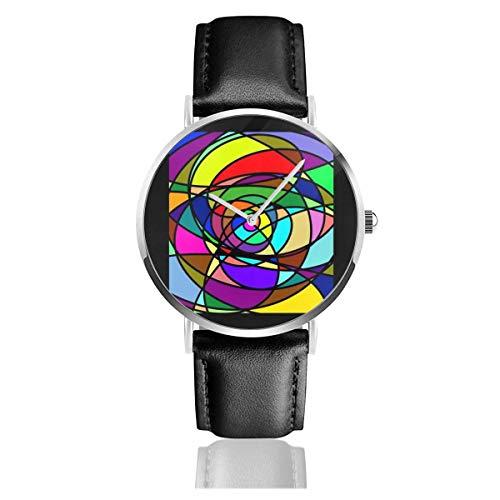 Unisex Business Casual kubische abstrakte Zeichnung Uhren Quarz Lederuhr