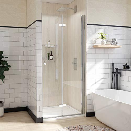 WELMAX Falttür Duschtür 90 x 185 cm Duschabtrennung 180° Schwingtür Duschwand | Duschkabine aus Klarglas 6mm ESG Sicherheitsglas