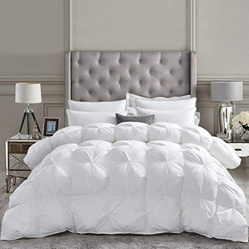 Luxurious All-Season Goose Down Comforter King Size Duvet Insert, Exquisite Pinch Pleat Design, Premium Baffle Box, 1200 Thread Count 100% Egyptian Cotton, Hypoallergenic, 65 oz Fill Weight, White
