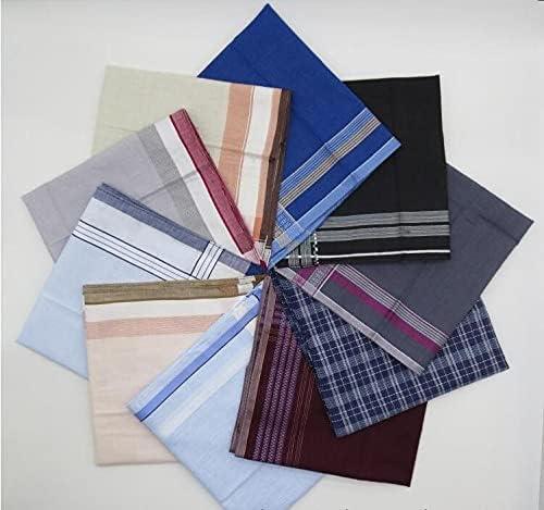 L2S 5pcs -10pcs Cotton Plaid Handkerchief Men Striped Towels Wedding Luxorious Handkerchief For Mens Pocket Square Mendil Zakdoek - 10PCS-21152
