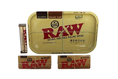 Raw Rolling Tray Small Bundle with Raw 110mm Roller and Raw King Size Supreme Rolling Papers (Small)