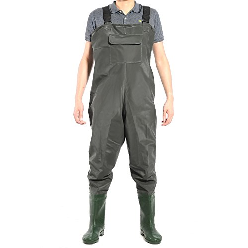 Hamimelon Chest Waders Waterproof Fishing Hunting Boot Foot Wader Wading Pants (Large)