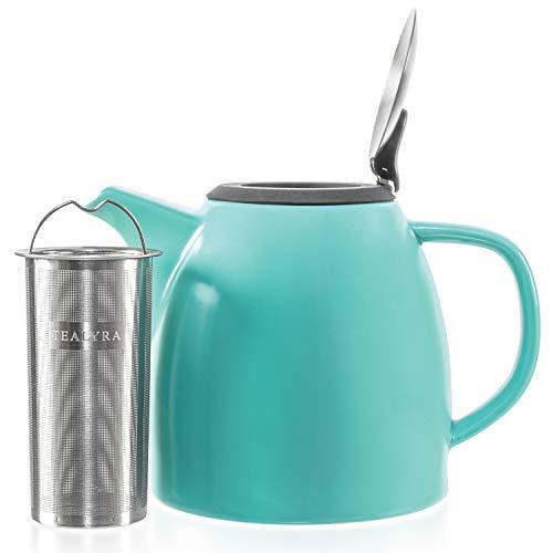 Tealyra - Drago Ceramic Teapot Turquoise - 37oz...