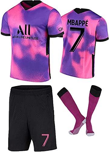 Herren Fußballtrikot for Kinder Männer #7 Mbappé Auswärts Fußball Trikots Fans Jersey Kinder T-Shirt Shorts Club Team Fußball Uniform mit Fußballsocke-Small_Purple_Pink