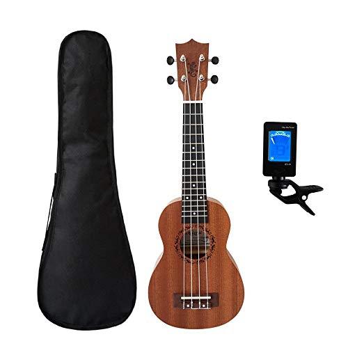 Ukulele ZWRY 21 Zoll Ukelele Mahagoni Sopran Gecko Ukulele Musikinstrument Gitarre 4-saitige hawaiianische Minis Gitarre 21 Zoll Gecko mit Bag Tuner