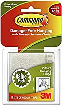 3M Command Medium Picture Hanging Strips White Multi Pack - 8 Pack