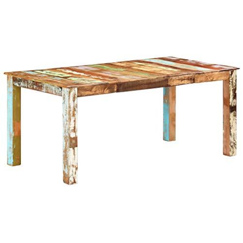UnfadeMemory Mesa de Comedor,Mesa de Cocina,Estilo Antiguo,Madera Maciza de Reciclada,Mueble de Comedor (180x90x76cm)