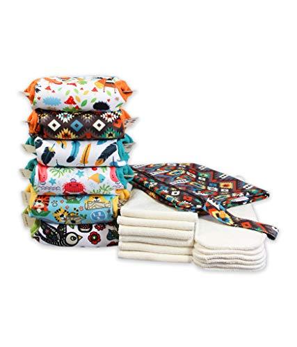 Petit Lulu 6 pañales de tela AIO con bolsillos y bolsa impermeable incluida   Paquete de pañales de tela   Orgánico esponjoso   Gancho y bucle   Reutilizable y lavable   Fabricado en la UE