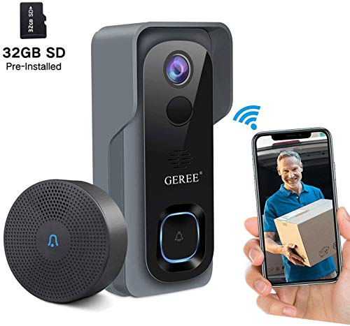 Video Doorbell Wireless WiFi Smart Doorbell Camera 1080P HD Security Home Camera,32G Micro SD Card,Real-Time Video and Two-Way Talk, Night Vision, PIR Motion Detection 166° Wide Angle Lens,GEREE 2020 NEWEST Upgrade