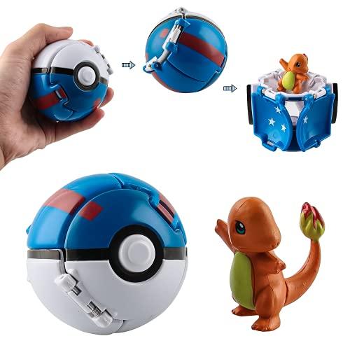 Esportic Poke Ball, Figurina Poke Ball, Throw 'N Pop Poké Ball, Kid Toys Plastic Anime Pokeball Figure per Bambini e Adulti Festa Giocattolo Regalo