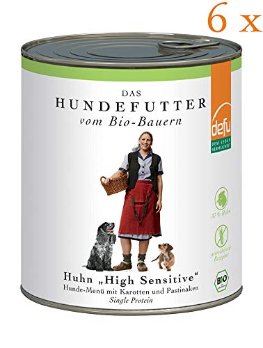 defu, Cibo Umido Biologico per Cani, specifico per Cani Altamente sensibili, in Confezione da 6 (6 lattine da 820 g) (Etichetta in Lingua Italiana Non Garantita)