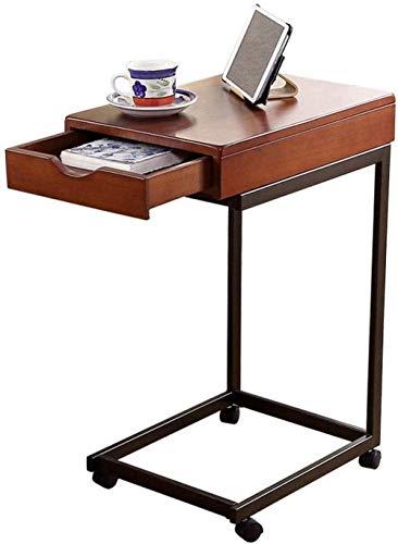 N/Z Tägliche Ausrüstung Nachttisch Beistelltisch für Wohnzimmer/Schlafzimmer Abnehmbarer Wohnzimmerbalkon Couchtisch mit Schubladen Einfacher Massivholz-Schmiedeeisen-Nachttisch Büro-Laptop-Beistellt