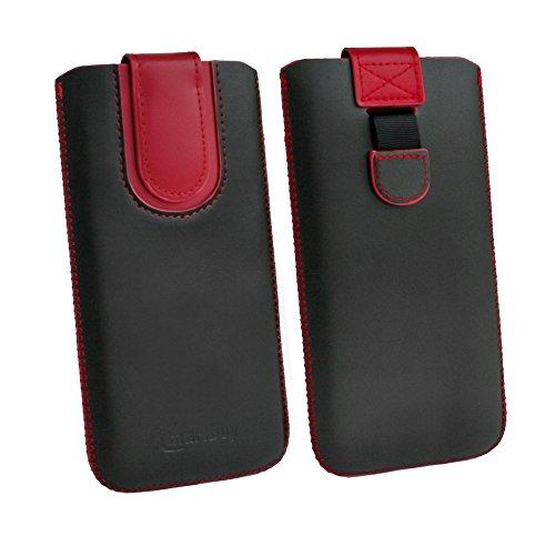 emartbuy Schwarz/Rot Premium PU Leder Slide in Pouch Hülle Cover Hülsenhalter Hulle Tasche (Größe LM5) mit Pull Tab Mechanismus Kompatibel mit Smartphones Aufgeführt Unten