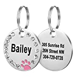 Fibernail Custom Crystals Pet ID Tag, Engraved Cute Dog ID Tags, Personalized Rhinestones Dog Tags, Sparkling Paw Dog ID tag, Double Sided Pet Tags(Pink)