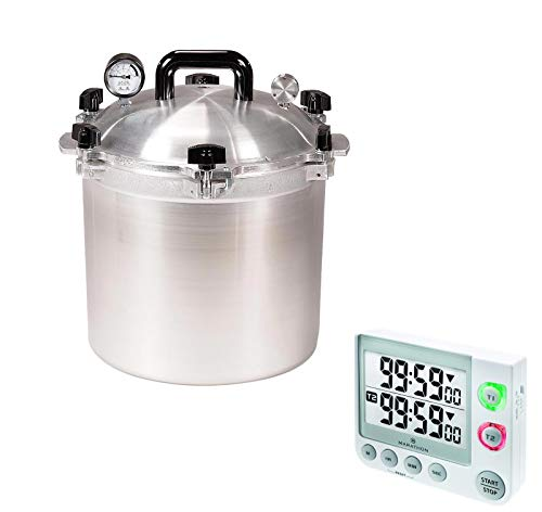 All American Precision Machined Pressure Cooker/Canner Bundle with Marathon TI030017WH Large Display 100 Hour Timer - (White) 21.5 QT
