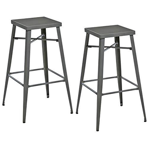 THC Living® Industrial Look Metall Barhocker ohne Lehne - 2er Set - stapelbar - Barstuhl mit 4 Beinen - Bistrohocker Tresenhocker mit Fußstütze (Grau)