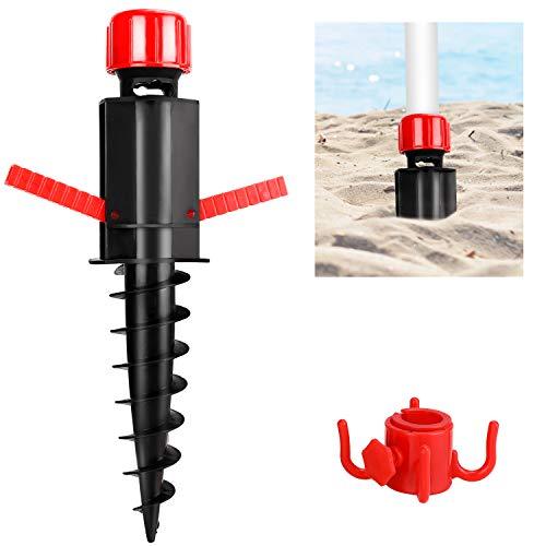 GIKPAL Sonnenschirmständer, Solide Sonnenschirme Bodendübel mit Haken für Schirmstöcke mit 20-32mm Durchmesser, Schirmhalter für Strandsand und Erde