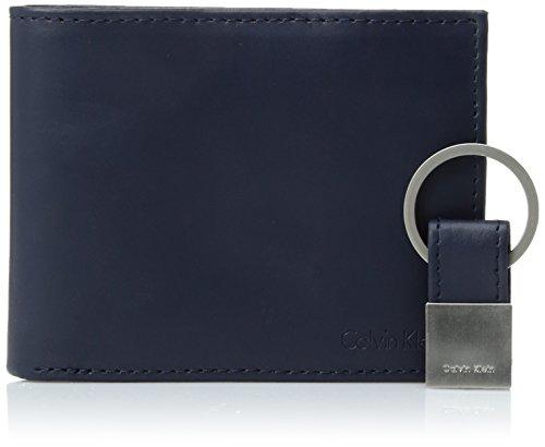 Calvin Klein Men's RFID Blocking Leather Bifold Wallet, Navy, One Size